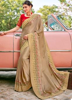 Gold Designer Embroidered Work Party Wear Georgette Saree
