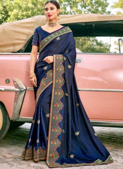 Blue Georgette Designer Embroidered Work Saree