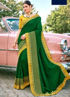 Green Patch Border Designer Georgette Saree