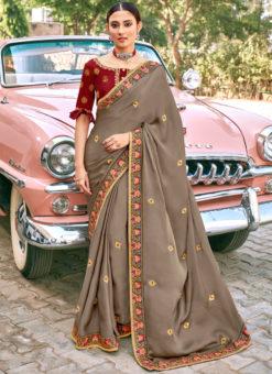 Grey Georgette Embroidered Work Designer Party Wear Saree