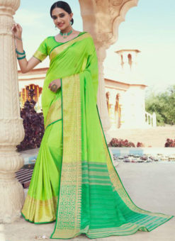 Green Jacquard Designer Zari Weaving Party Wear Saree