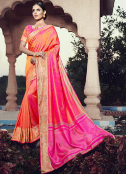 Pink Jacquard Party Wear Swarovski Work Designer Saree