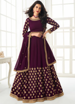 Designer Embroidered Work Purple Georgette Anarkali Suit