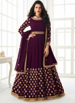 Georgette Purple Embroidered Work Designer Anarkali Suit