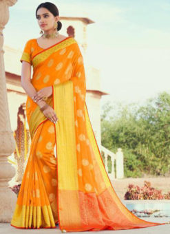 Yellow Swarovski Work Jacquard Designer Saree