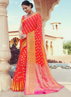 Red Jacquard Swarovski work Party Wear Saree