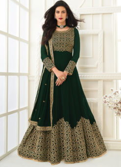 Embroidered Work Designer Georgette Green Anarkali Suit