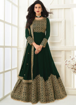 Georgette Green Embroidered Work Designer Anarkali Suit