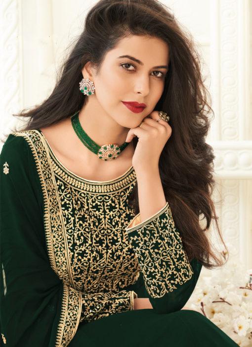 Embroidered Work Designer Georgette Green Anarkali Suit
