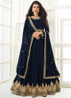 Blue Embroidered Work Georgette Designer Anarkali Suit