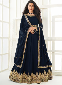Georgette Blue Embroidered Work Designer Anarkali Suit