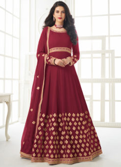 Georgette Magenta Embroidered Work Designer Anarkali Suit