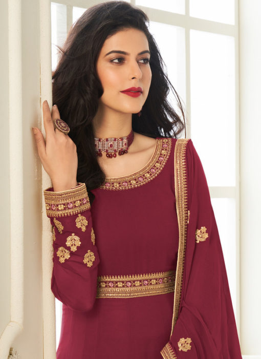 Georgette Designer Embroidered Work Maroon Anarkali Suit
