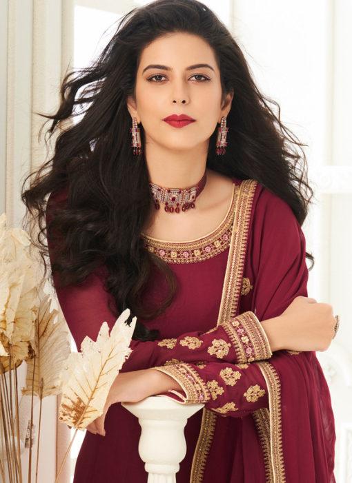 Georgette Magenta Embroidered Work Designer Anarkali Suit