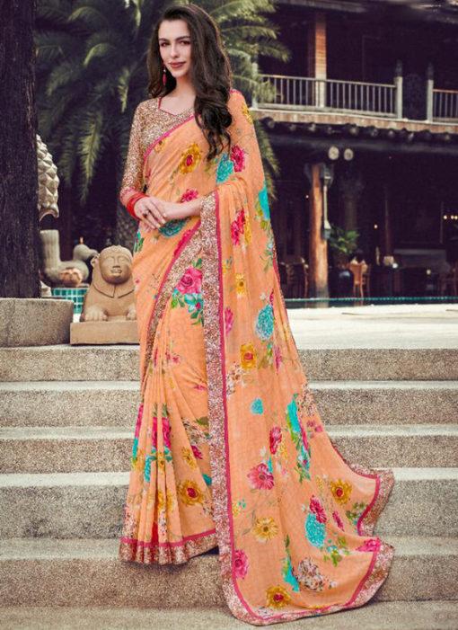 Peach Georgette Printed Casual Wear Saree