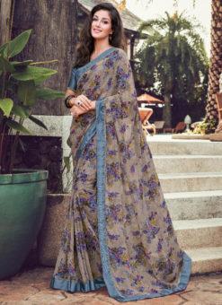 Grey Georgette Printed Casual Wear Saree