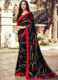 Black Georgette Printed Casual Wear Saree