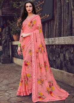 Pink Georgette Printed Casual Wear Saree