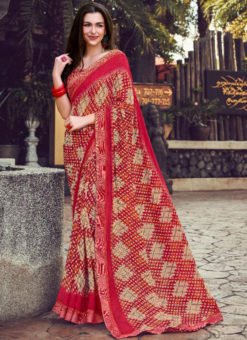 Maroon Georgette Printed Casual Wear Saree