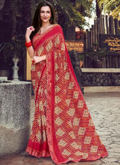 Maroon Georgette Printed Casual Wear Saree