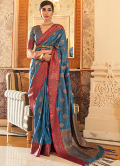 Blue Handloom Silk Thread Work Designer Traditional Saree