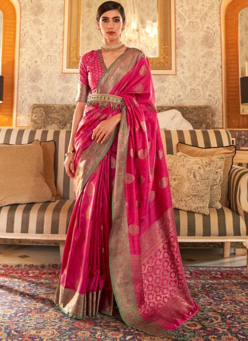 Rani Handloom Silk Designer Zari Weaving Traditional Saree