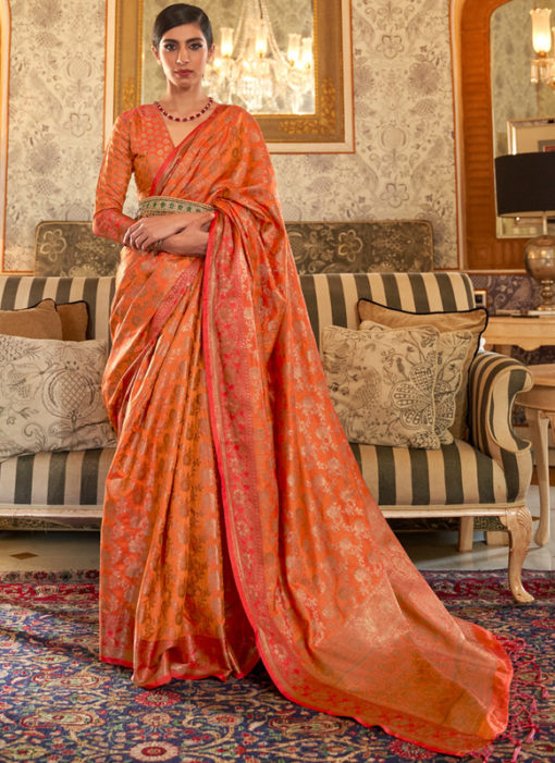 Orange Handloom Silk Zari Weaving Designer Traditional Saree