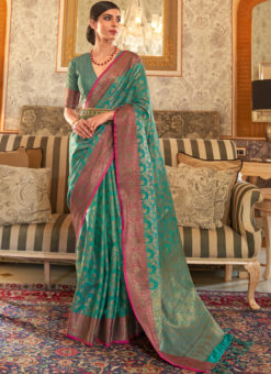 Sea Green Handloom Silk Designer Zari Weaving Traditional Saree