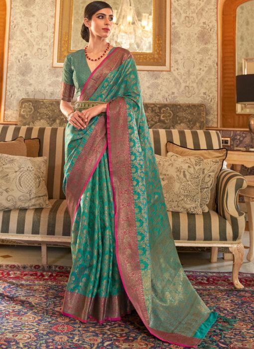 Sea Green Handloom Silk Designer Zari Weaving Traditional Saree