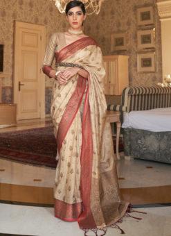 Cream Handloom Silk Zari Weaving Traditional Saree
