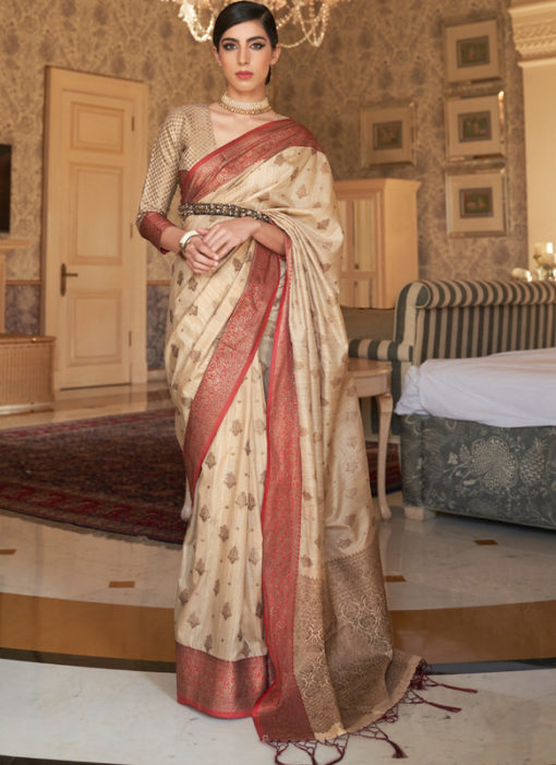 Cream Handloom Silk Zari Weaving Traditional Saree