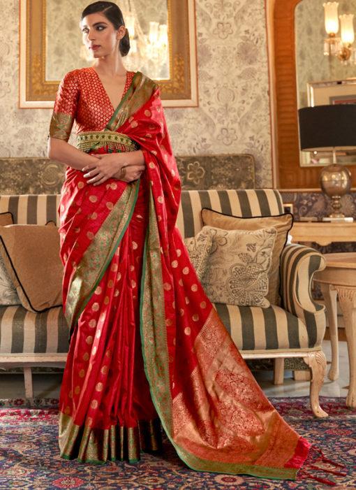 Red Designer Zari Weaving Handloom Silk Traditional Saree
