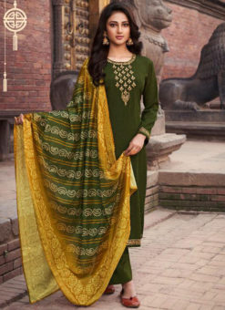 Designer Green Chiffon Embroidered Work Salwar Suit