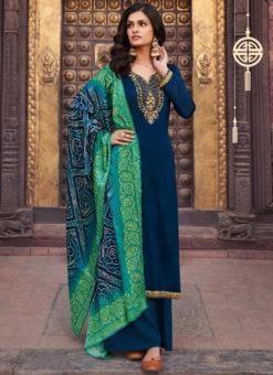 Blue Chiffon Designer Embroidered Work Salwar Suit