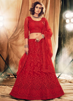Heritage Red Net Designer Embroidered Work Wedding Lehenga Choli