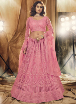 Heritage Pink Net Designer Embroidered Work Wedding Lehenga Choli