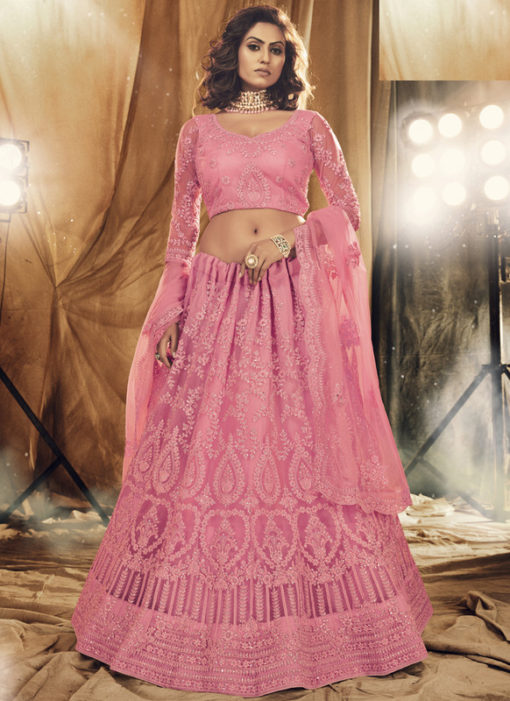 Heritage Pink Net Designer Embroidered Work Wedding Lehenga Choli