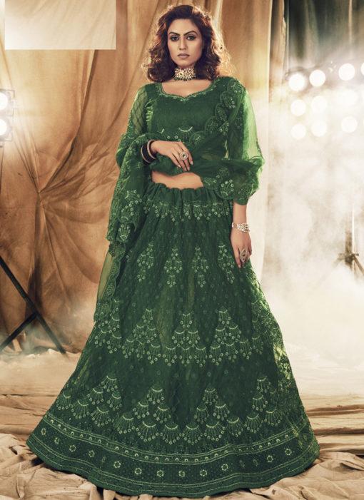 Heritage Green Net Designer Embroidered Work Wedding Lehenga Choli