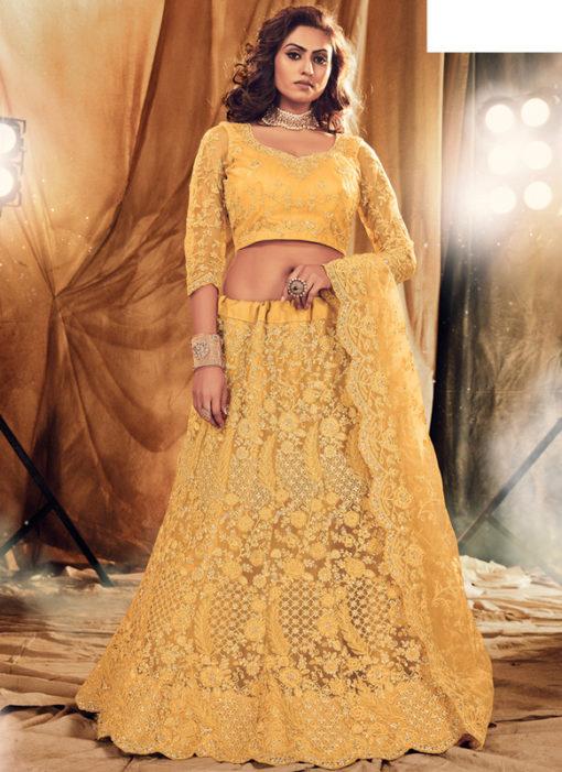 Heritage Yellow Net Designer Embroidered Work Wedding Lehenga Choli