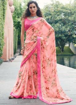Pink Geprgette Printed Casual Saree
