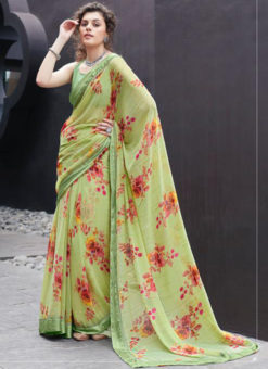 Green Georgette Casual Printed Saree