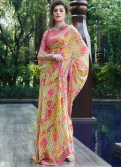 Mustard Georgette Casual Printed Saree