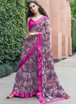 Purple Georgette Printed Casual Saree