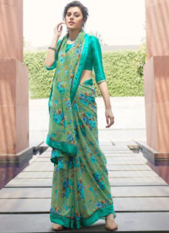 Sea Green Georgette Casual Printed Saree