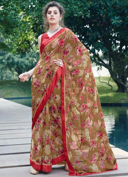 Maroon Georgette Casual Printed Saree
