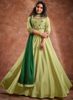 Banarasi With Heavy Embroidery Green Readymade Kurti