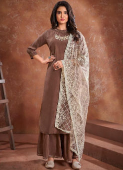 Light Purple Maslin Heavy Handwork Designer Readymade Kurti With Palazzo