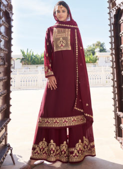Maroon Designer Embroidered Work Georgette Semi Stitch Palazzo Suit