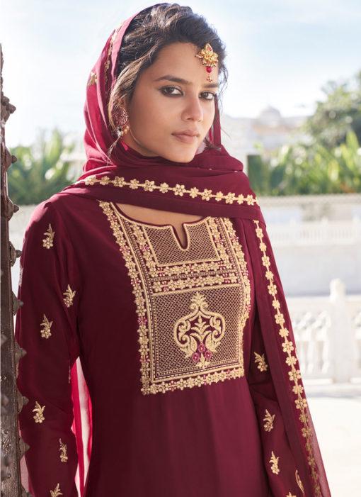 Maroon Designer Embroidered Work Georgette Semi Stitch Palazzo Suit