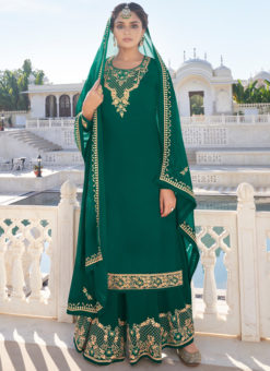 Designer Green Embroidered Work Semi Stitch Georgette Palazzo Suit